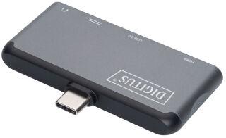 DIGITUS Station d'accueil pour portable, 4 ports, USB-C