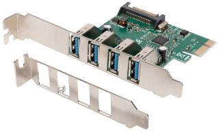 DIGITUS Carte réseau PCI Express USB 3.0, 4 ports, 5 Gbit/s.