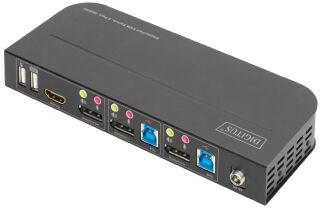 DIGITUS Commutateur KVM, 2 ports, 2x entrée DP, 1x sortie DP