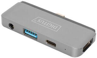 DIGITUS Station d'accueil mobile USB-C, 4 ports, gris